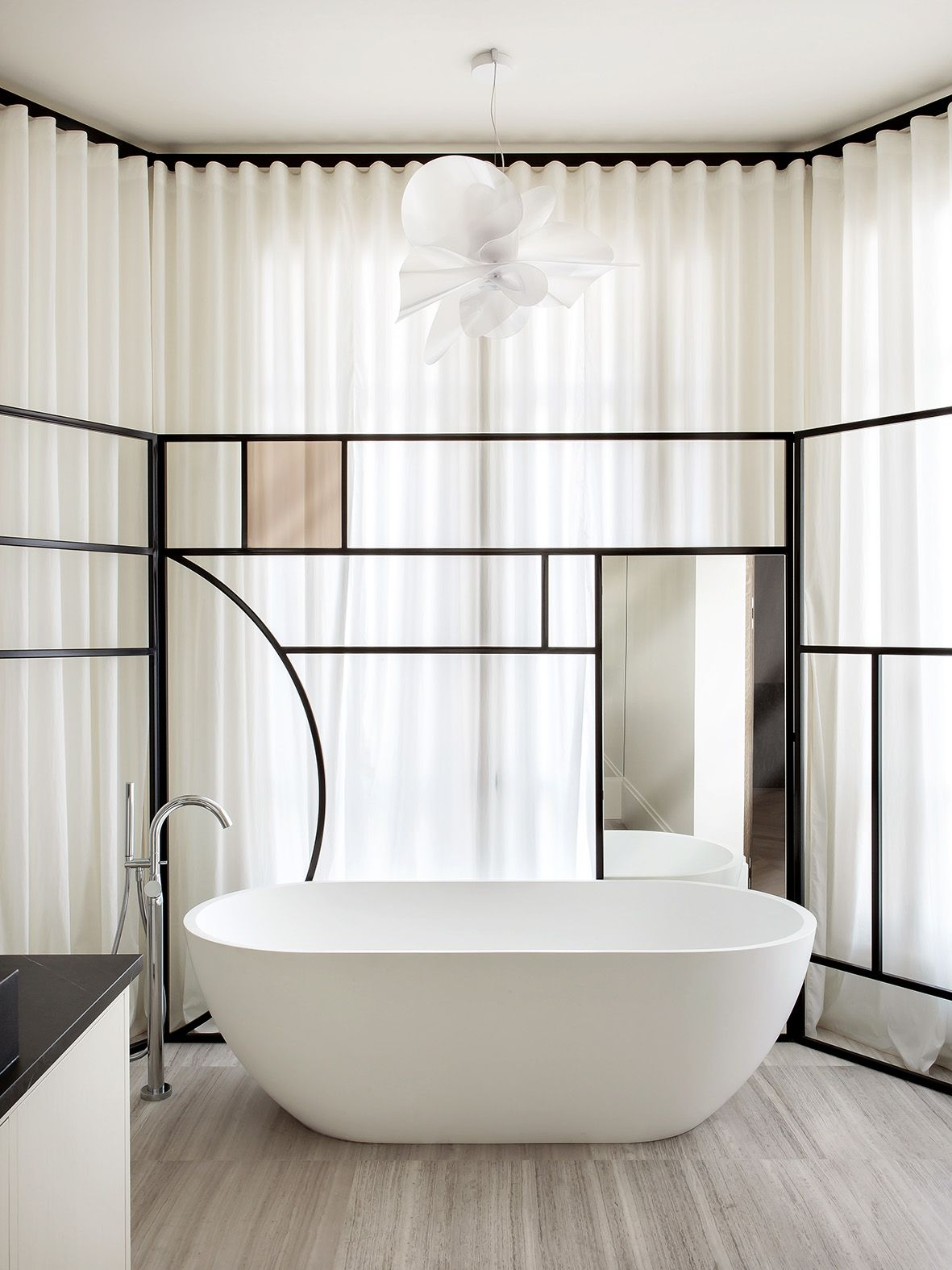 Ripplefold drapery on  ceiling mounted track adding softness to all of those hard surfaces also savioparsons architects minimalist interiors in pinterest rh
