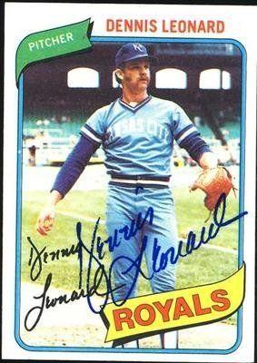Dennis Leonard Royals 1980 Topps Signed Card Sl Coa 6 00 Kansas City Royals Pitcherdennis Leonardha Kansas City Royals Baseball Baseball Old Baseball Cards