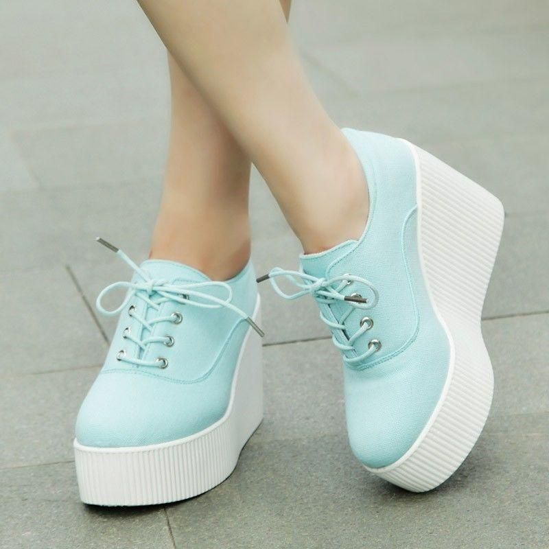 fa24e6f5dba Women s Creeper Lace Up Wedge High Heel Platform Casual Sneakers Shoes  Round Toe