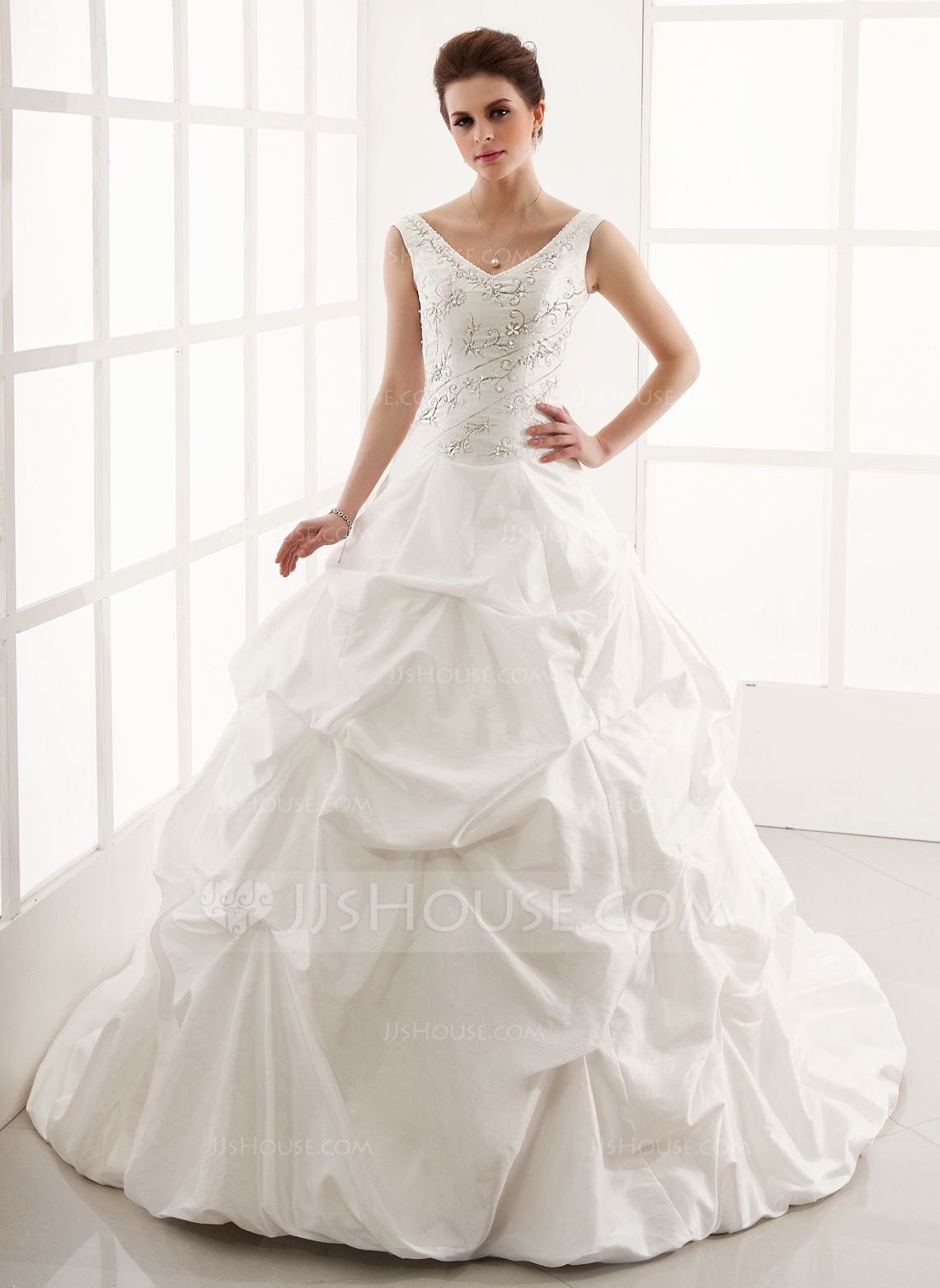 Wedding dresses v neck  BallGown Vneck Cathedral Train Taffeta Wedding Dress With Ruffle