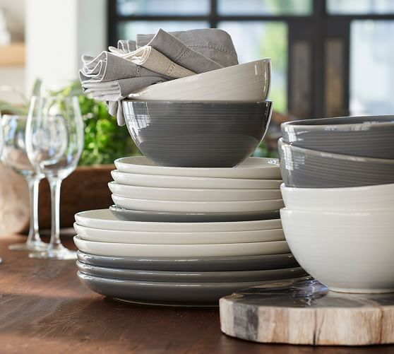 Joshua Dinnerware - Gray Dinner Plate Set of 4 & Joshua Dinner Plate Salad Plate and Bowls. - New Dishes ...
