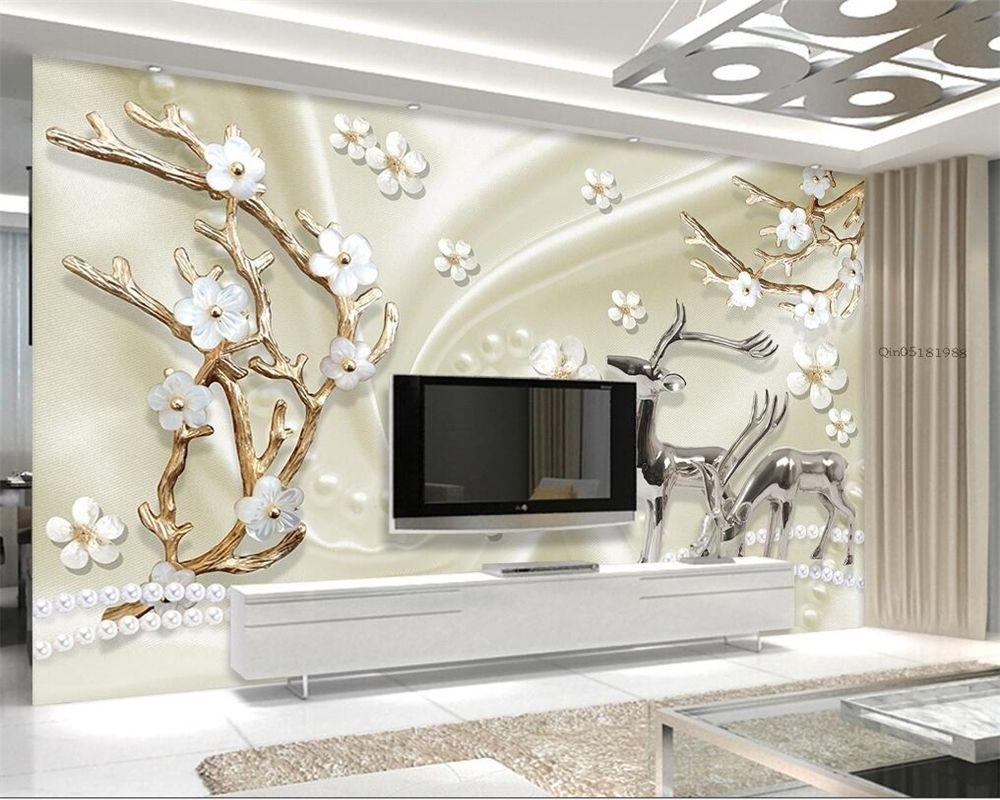 Beibehang Custom wall paper jewels metal elk 3d living room bedroom ...