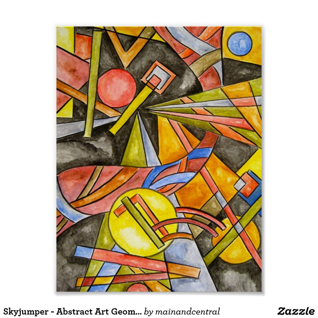 skyjumper geometric poster with hand painted abstract art abstract