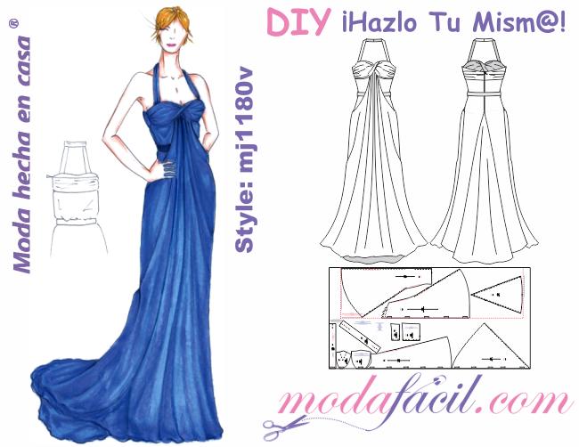 b5f4681057 Descarga gratis los moldes de Hermoso traje de fiesta con cauda disponible  en 10 tallas listas para cortar