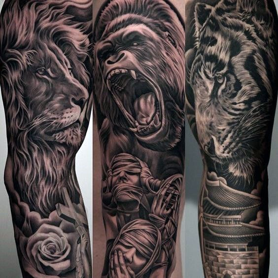 Top 63 Lion Sleeve Tattoo Ideas - [2020 Inspiration Guide]