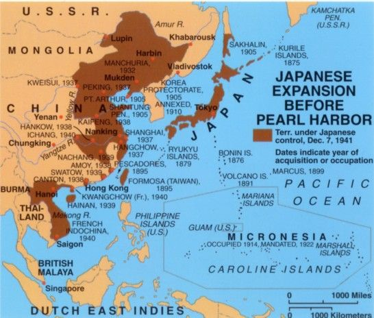 Japanese Expansion Before Pearl Harbor Historical Maps - Japan map facts