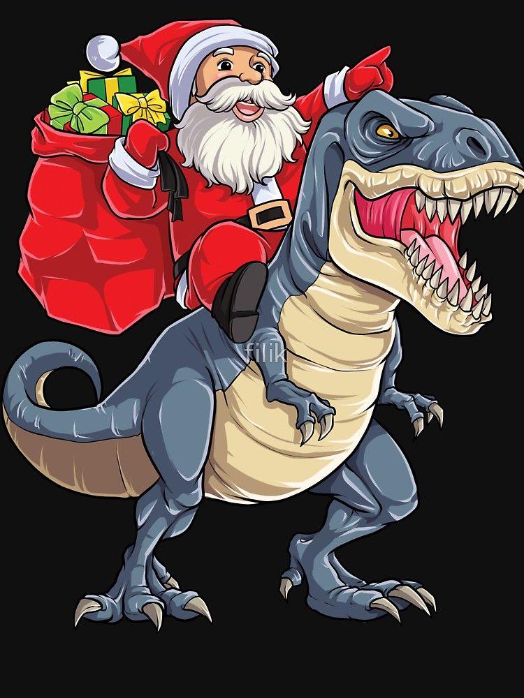 66c8dd283 Santa Riding Dinosaur T rex T Shirt Christmas Gifts X-mas Kids Boys ...