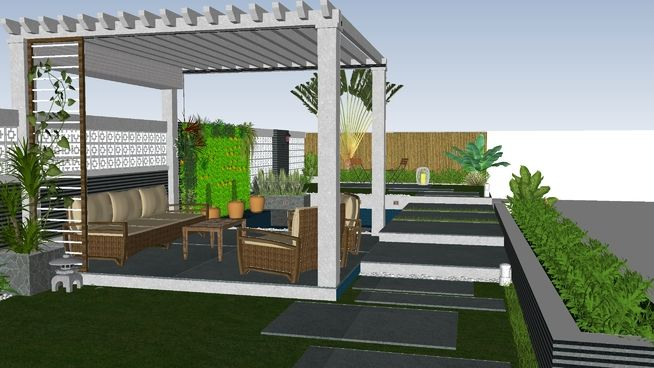 Large preview of 3D Model of Sân vườn   Courtyard cafe ...