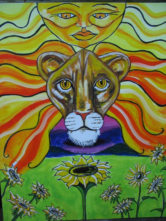 Leo Sun Sign Astrological Painting on Canvass Board in by tessimal ...