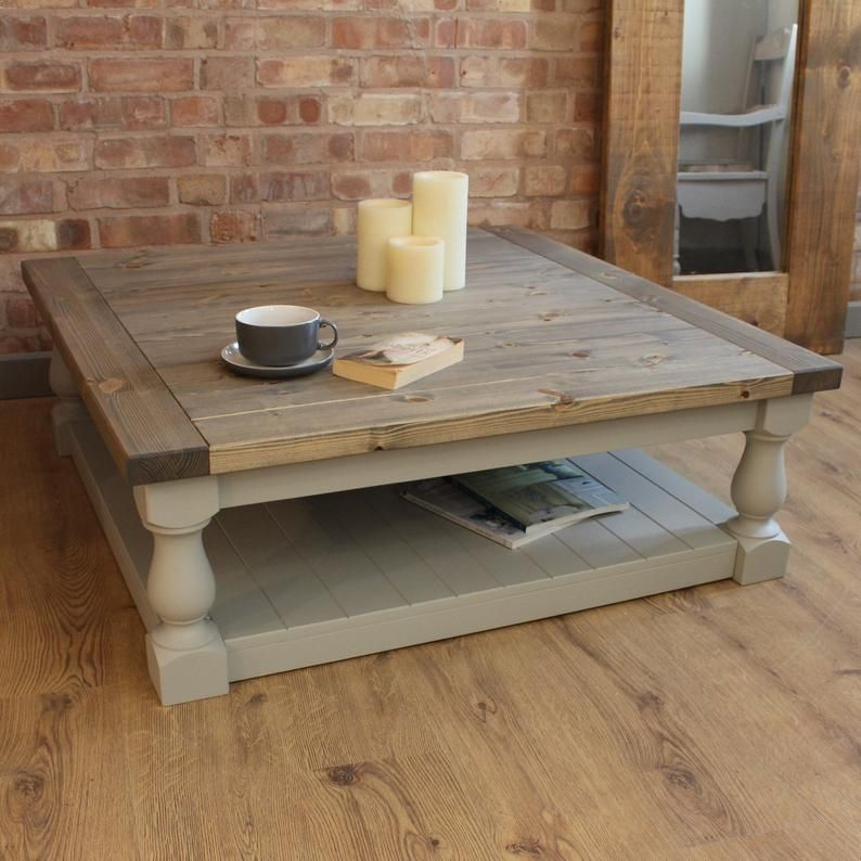 Large Square Handmade Solid Pine Farmhouse Coffee Table Coffee