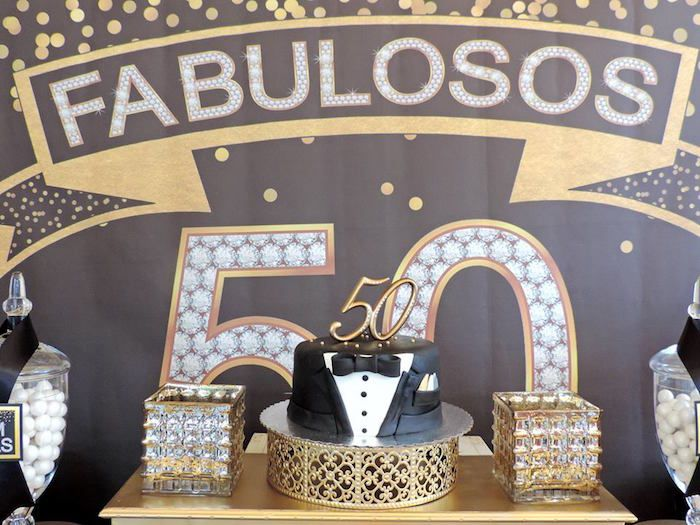 Cake Display From A Fabulous 50 Black Amp Gold Birthday