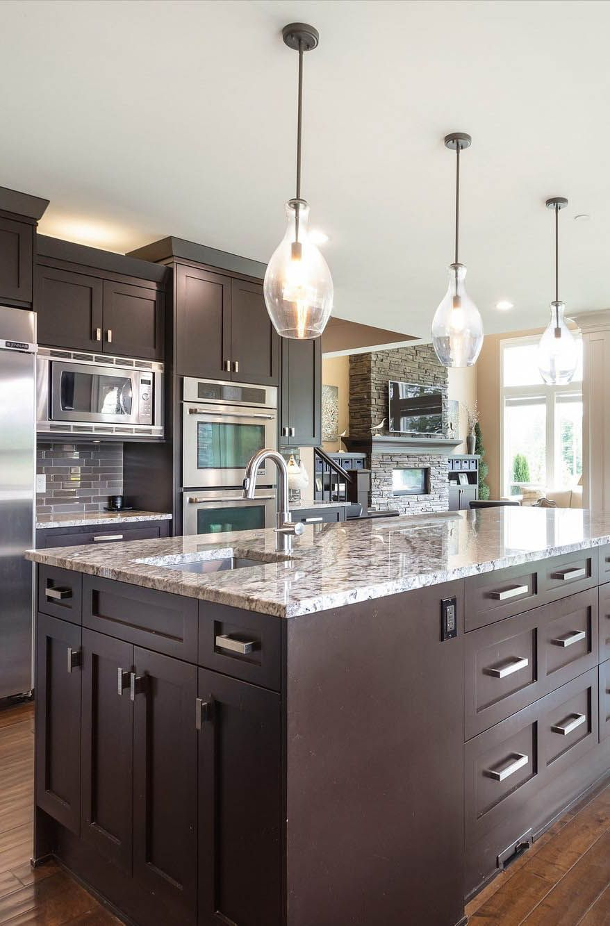 Granite Countertops With Dark Brown Shaker Style Cabinets In 2020 Tile Backsplash Kitchen Dark Cabinets White Subway Tiles Kitchen Backsplash Brown Granite Countertops