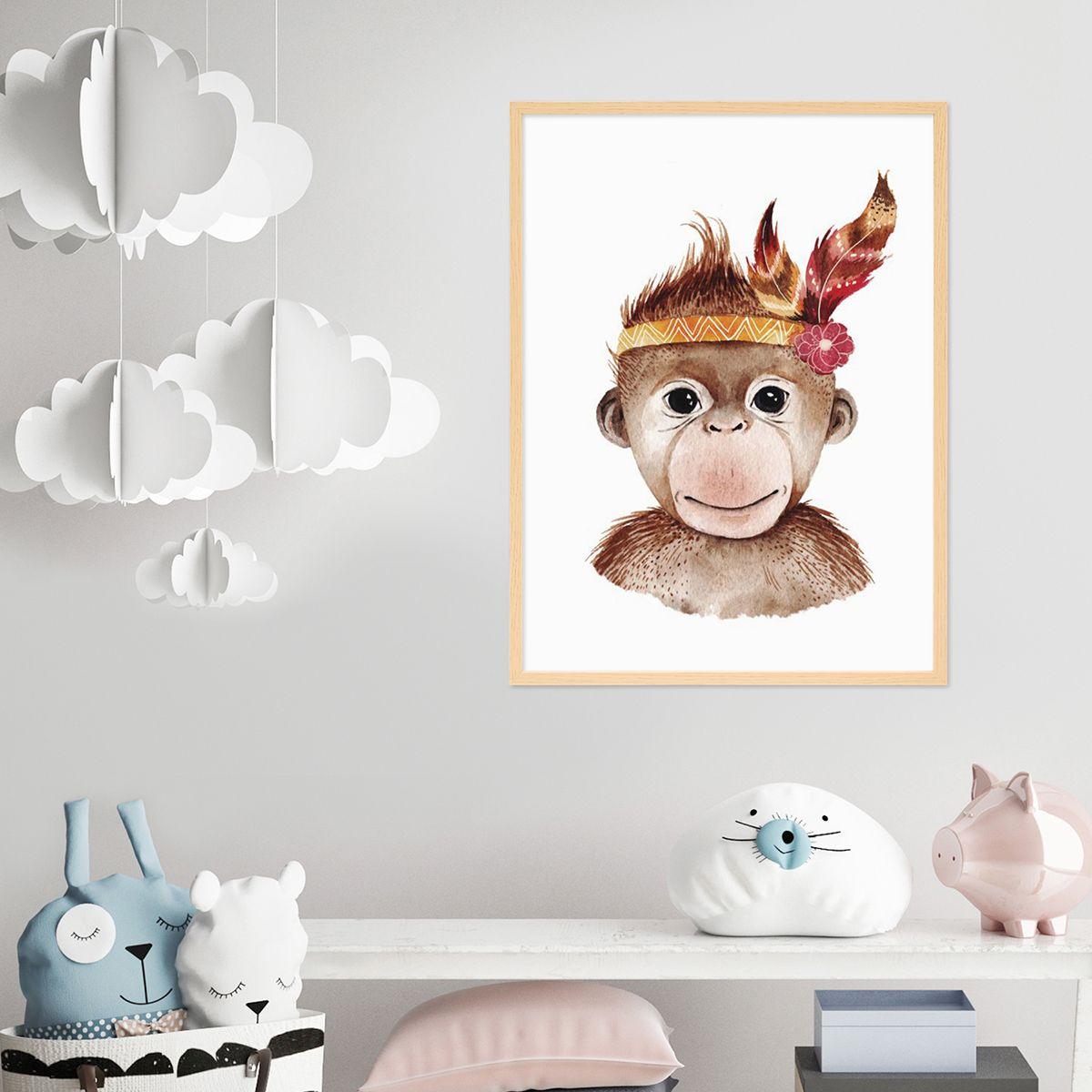 Poster für das Kinderzimmer mit bilderrahmen 'Affe