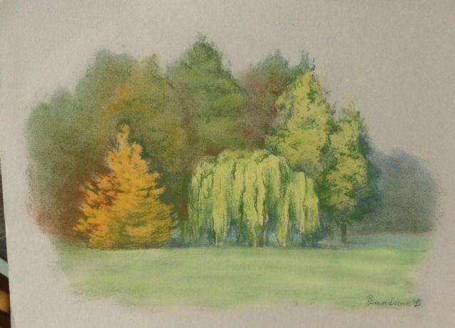 Peinture arbres en automne dessin au pastel sec paysage romantique arbre saule pleureur jaune - Dessin au pastel sec ...