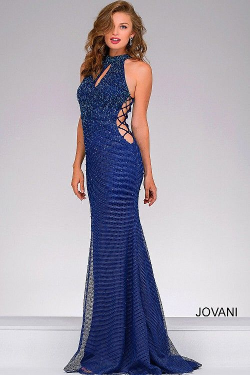 Navy Beaded Long Dress with Side Cut Outs 36448