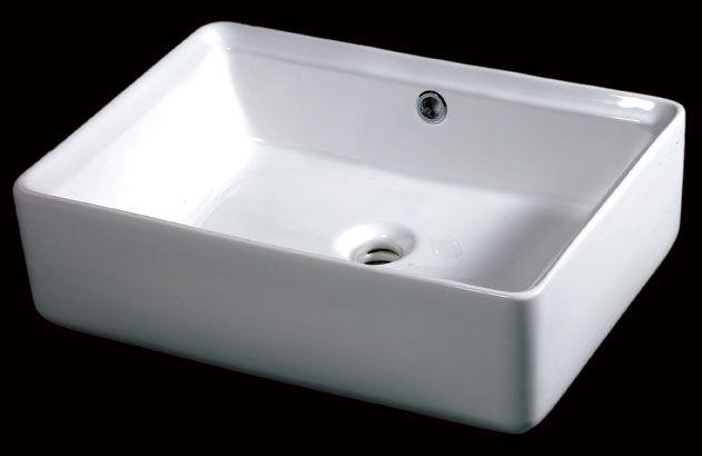 EAGO BA131 White Rectangular 20 Inch Porcelain Bathroom Sink With Overflow,  Width: 19 5