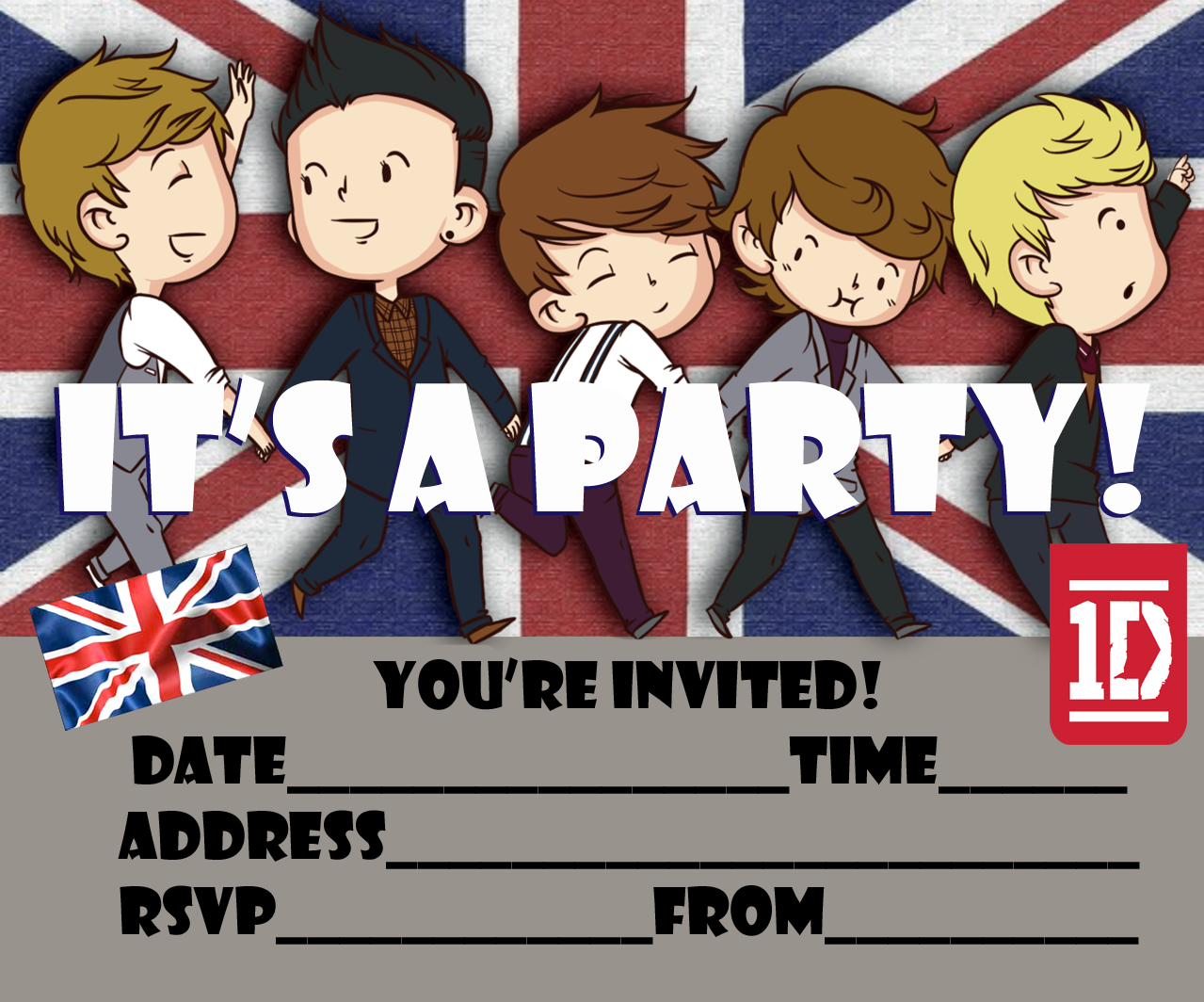 one direction free printable party invitation for 1d fans to print, Printable invitations