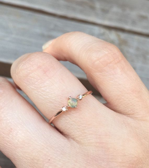 14k Rose Gold Opal Ring Diamond Opal Ring Diamond by LieselLove