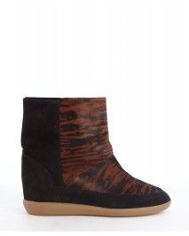 Isabel Marant Black Calf Hair And Suede 'Norwood' Wedge Boots