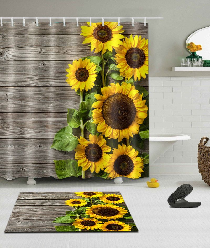 Genial 100% Polyester Sun Sunflower Bathroom Decor Shower Curtain +Hooks /Bath Mat  Rug #Unbranded #Classic