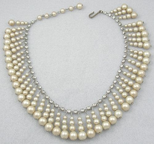 Faux Pearl Fringe Necklace - Garden Party Collection Vintage Jewelry