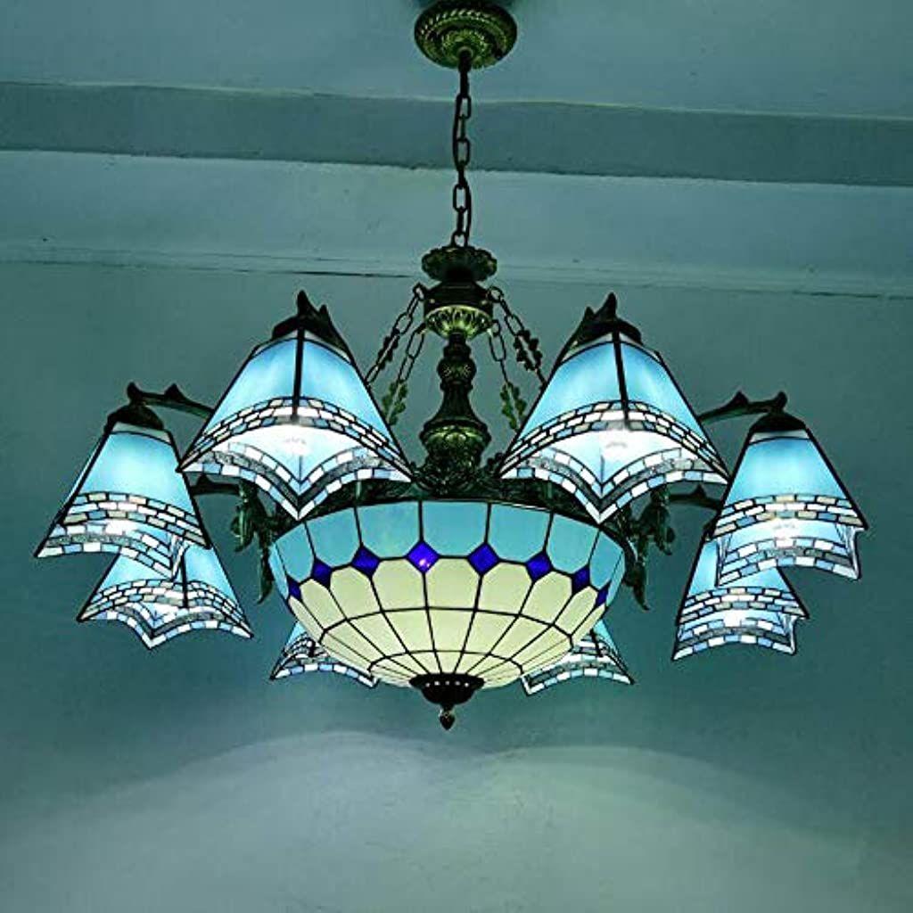 Lampada A Sospensione Tiffany Stile Soggiorno E27 Plafoniera Retro Dipinto A Mano Paralume In Vetro Lampade Da Soffitto Lampade A Sospensione Plafoniera