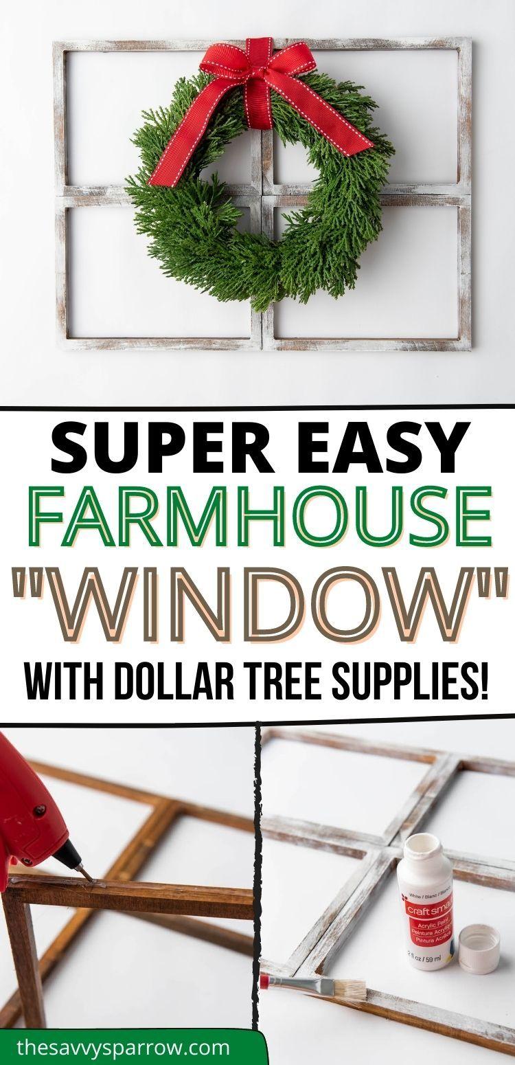 Easy DIY Christmas Decor with Dollar Tree Supplies - Rustic Farmhouse Window Decor! -   17 diy christmas decorations dollar store farmhouse ideas