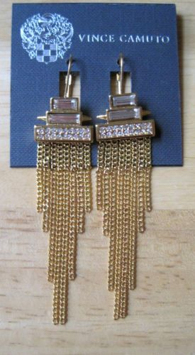 Vince Camuto~Gold Tone~Clear Crystal Stone~Geo Fringe Chain Dangle Earrings~$58 in Jewelry & Watches, Fashion Jewelry, Earrings | eBay