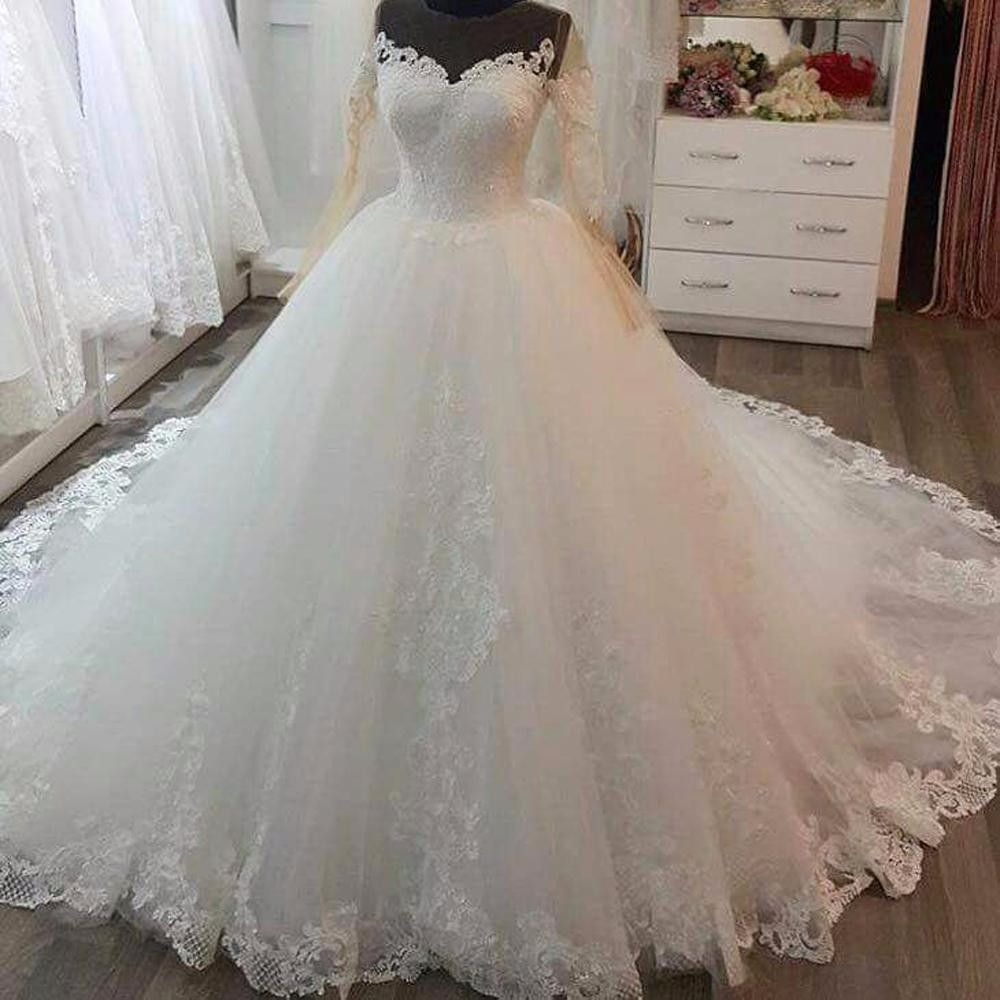 Vintage winter fall ball gown wedding dresses long sleeves lace