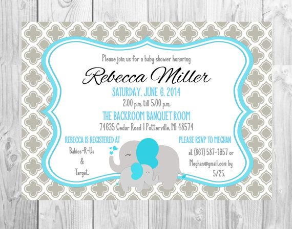 Baby Shower Invitations// Grey & Blue with by MMasonDesigns, $10.00
