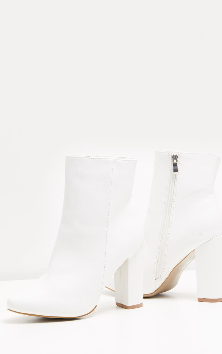 White Faux Leather Ankle Boot   Shoes
