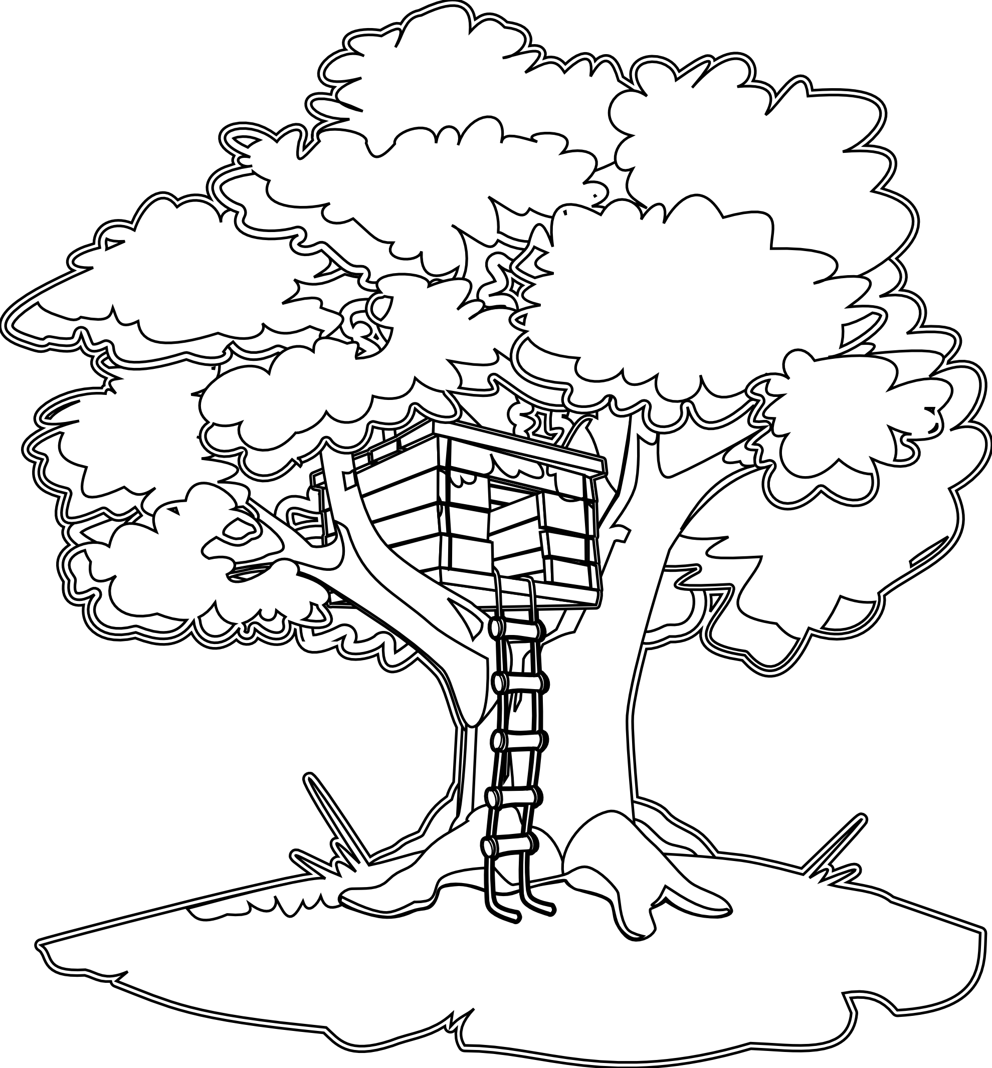 Tree House Black White Line Art Coloring Book Colouring