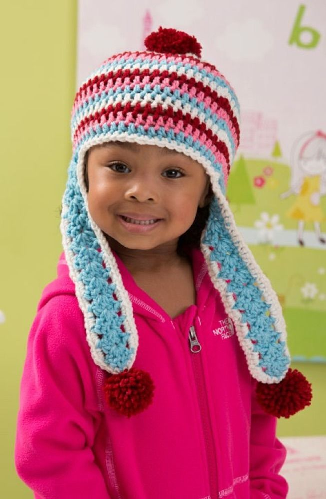 Snowy Day Earflap Hat in Red Heart With Love Solids ...