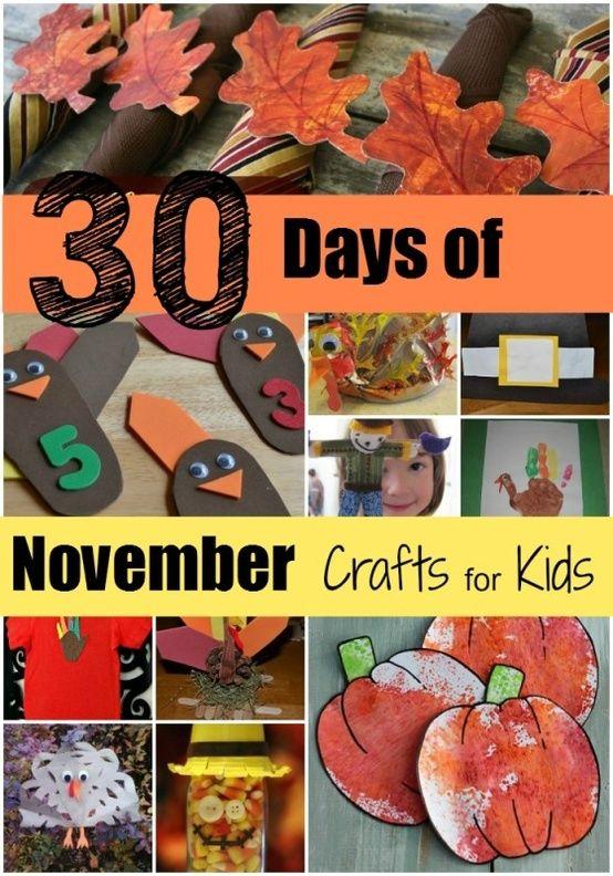 30 Days Of November Crafts For Kids