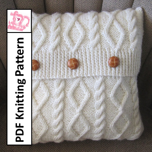 Knit Pattern Pdf Cable Knit Pillow Cover Pattern Diamonds And