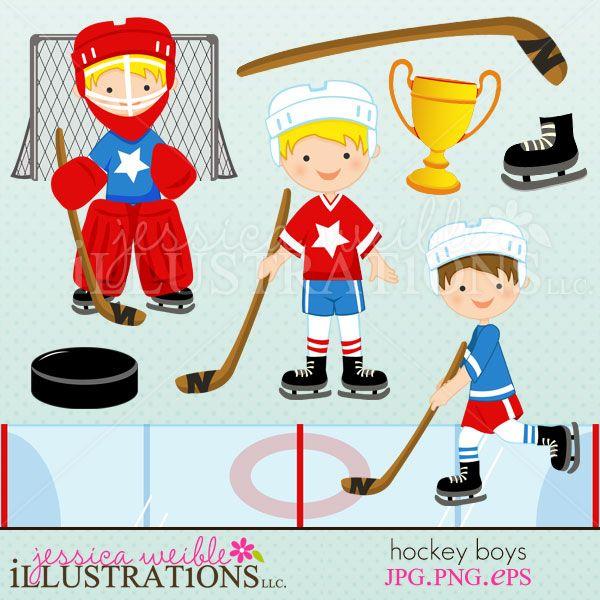 Hockey Boys Clipart Set Comes With 9 Cute Graphics Bambole