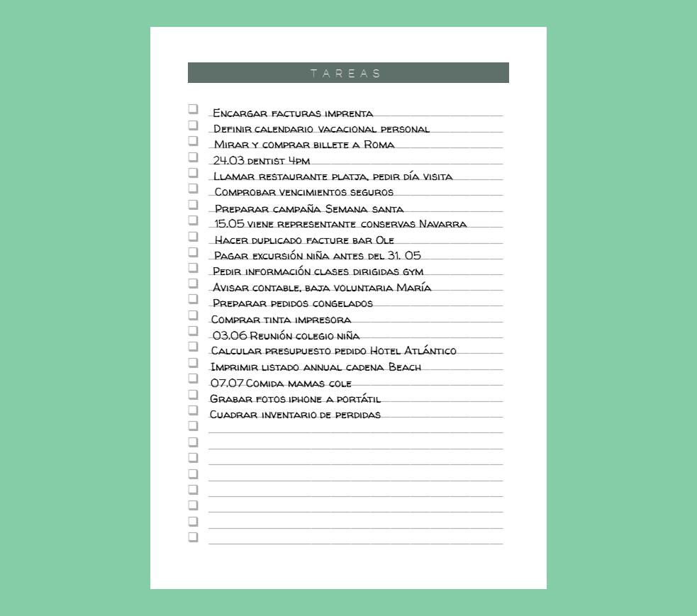 Plantillas. Tareas. PersonalBook | Plantillas, PersonalBook.Online ...