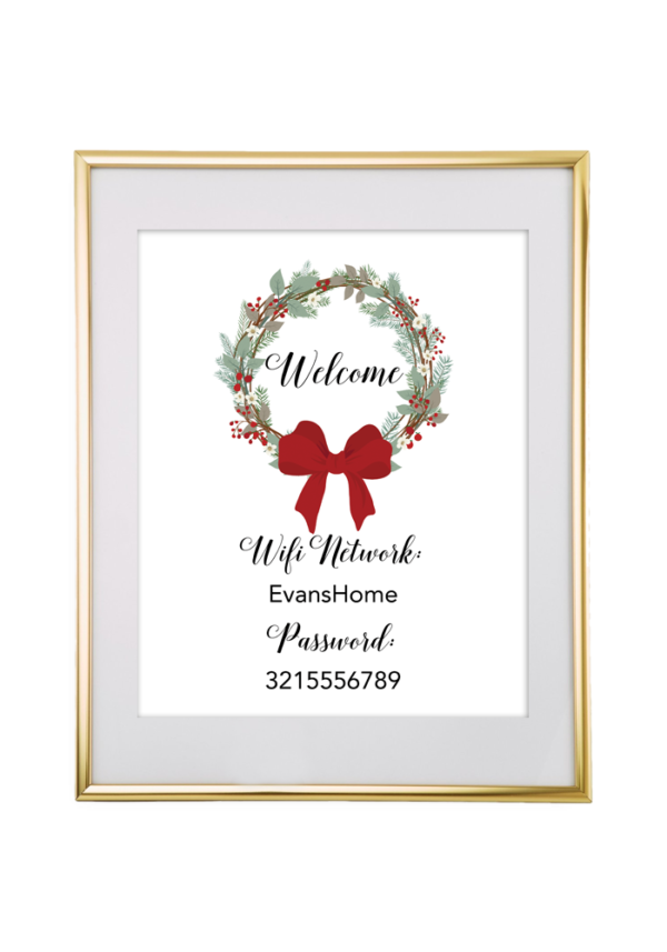 Christmas Wreath Wifi Password Sign | Free Printables for