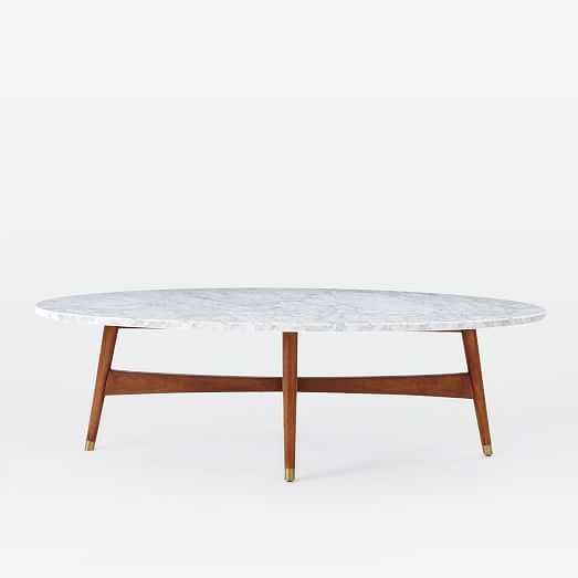 Reeve Mid Century Oval Coffee Table Marble Top