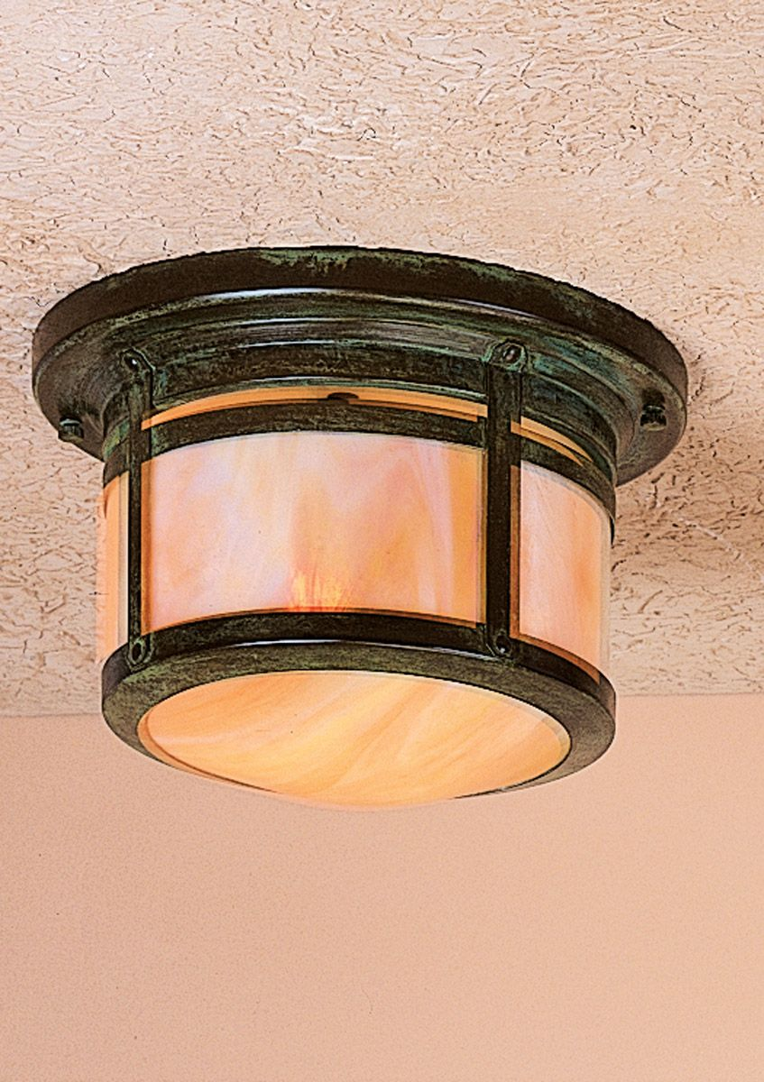 Arroyo Craftsman Bcm 8gw Vp Berkeley 1 Light 10 Inch Verdigris Patina Flush Mount Ceiling In Gold White Iridescent