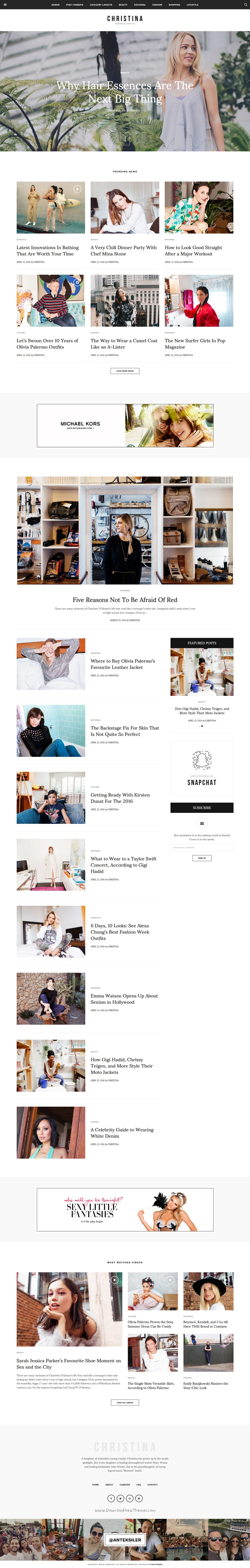 Christina is an wonderful premium #WordPress theme for #Fashion & #Lifestyle Responsive Magazine website with 3 stunning homepage layouts download now➯ https://themeforest.net/item/christina-fashion-lifestyle-responsive-magazine-theme/15987713?ref=Datasata