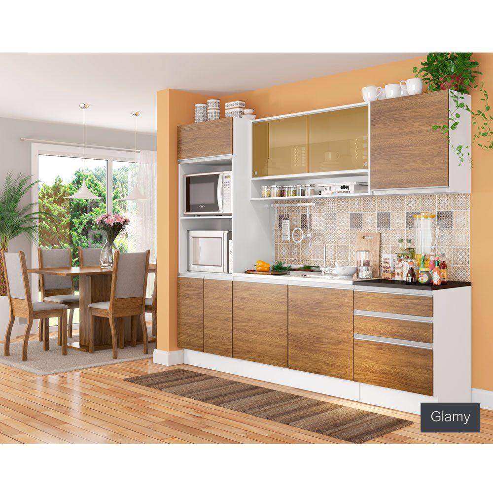 Cozinha Compacta Madesa Glamy Anabela 8 Portas 3 Gavetas