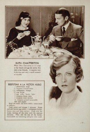 Ruth Chatterton Beefsteak A La Hugo Recipe, 1931