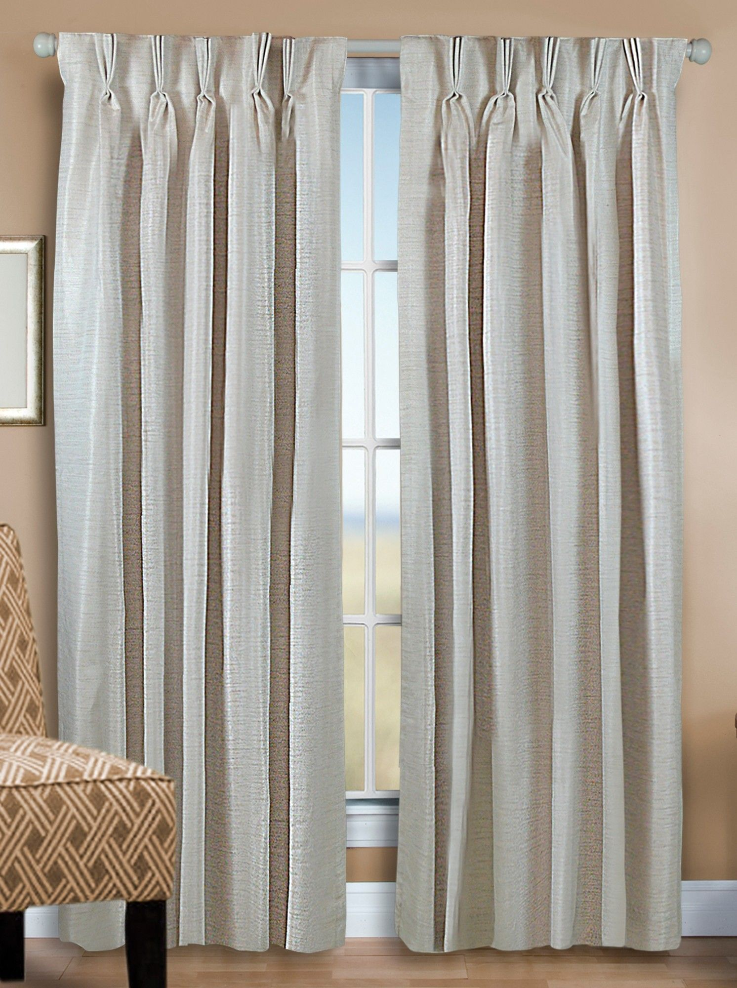 Grasscloth Lined Pinch Pleat Back Tab Curtain Panel Pair Parchment