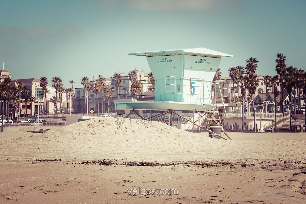 Huntington Beach Liuard Tower 5 Retro Picture With