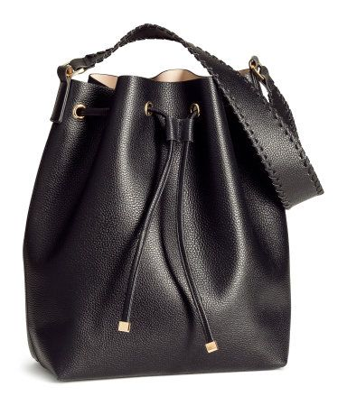 Black drawstring bucket bag with grained faux leather, wide ...
