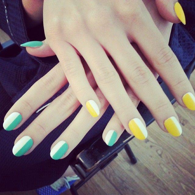 2 Color Nail Design Nails Pinterest Color Nails