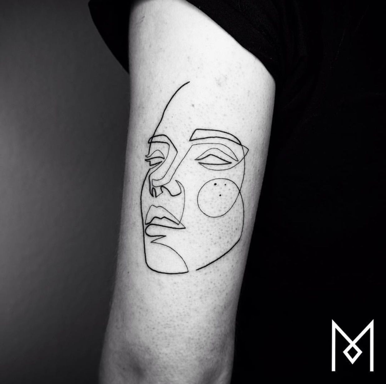 Line Tattoo One Line Face Portrait Tattoos Line Art