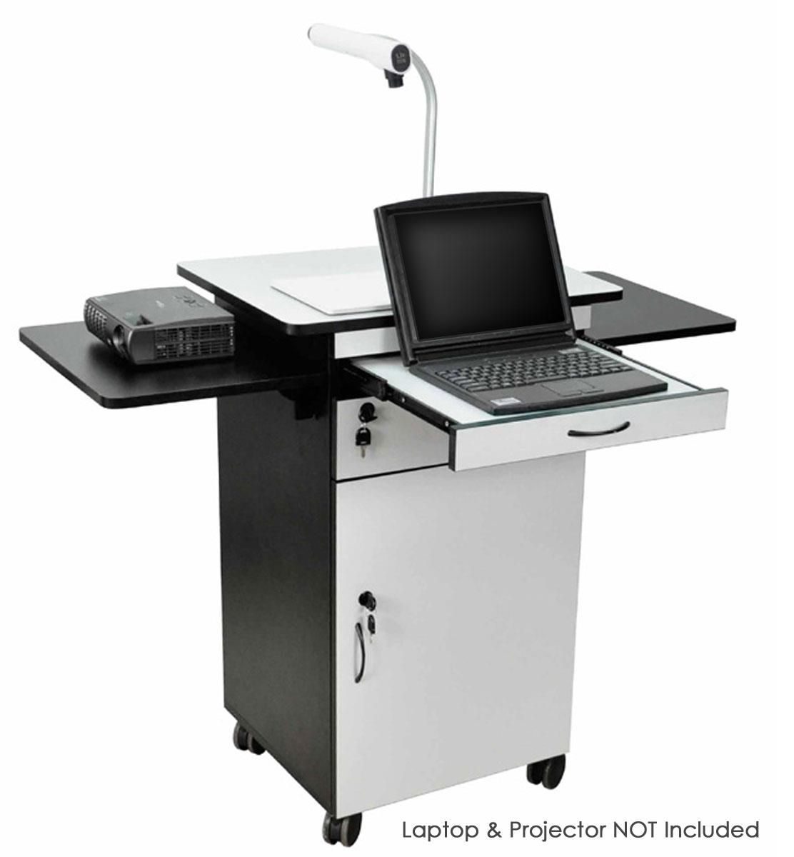 Media Cart With Locking Cabinet Pull Out Keyboard Tray Locking Wheels Black Gray In 2020 Computer Workstation Desk Lockable Storage Workstation