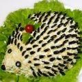How to make salad hedgehog - recipe, ingredients and photos #olivierrussischersalat